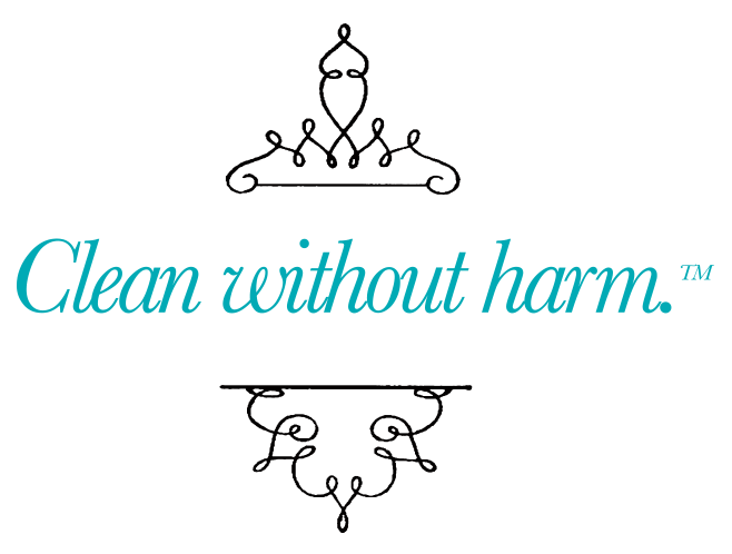 Clean without harm - tagline in teal with black design around the text